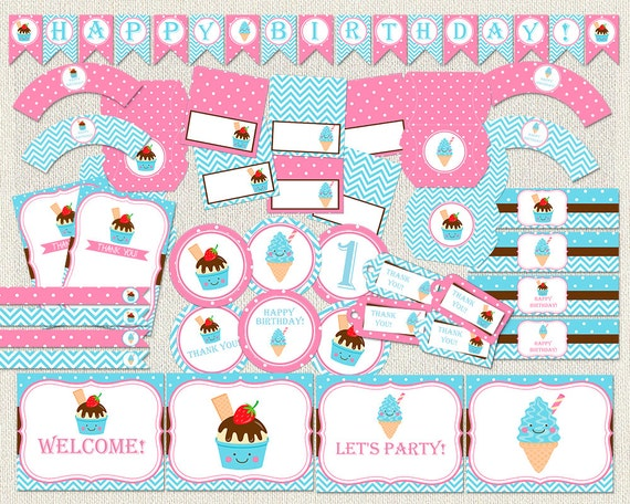 Ice Cream Birthday Soft Serve Pink Blue Birthday Pack Ice Cream Party Pack Birthday Party Decoration Package Decoration Pack Iv 13