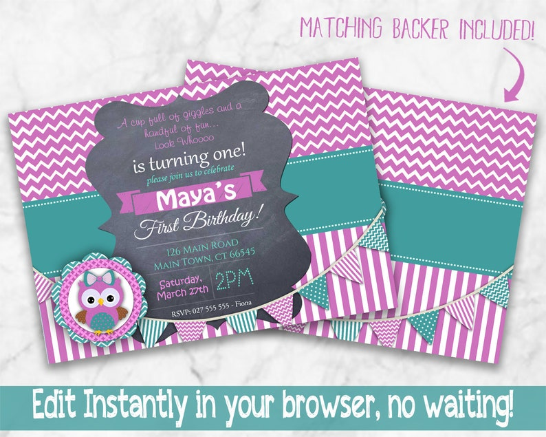 INSTANT Girls OWL Birthday Invitation Purple Green Owl