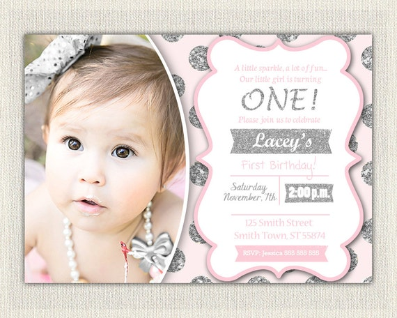 first birthday invitation silver and pink princess invitations pink