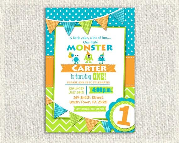 Monster 1st Birthday Invitation Boys Orange Green Blue 2nd 3rd Invites Printable Party