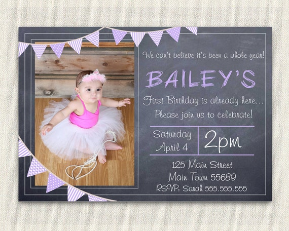 Girls Purple 1st Birthday Invitation Printable Download First Photo Invites Chalkboard Bunting DIY Digital