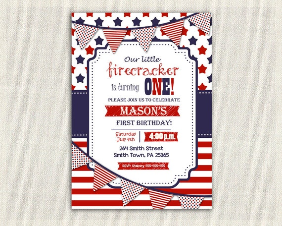 4th July Any Age Birthday Invitation Girl Boy Invite Gender Neutral Fourth Of Patriot Red White And Blue Stars Stripes Party