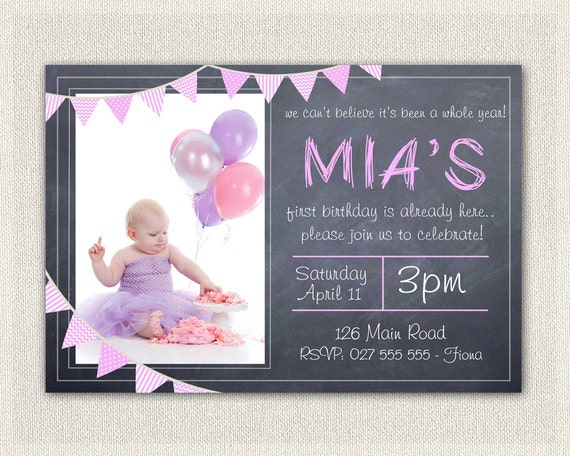 Girls Pink 1st Birthday Invitation Printable Download