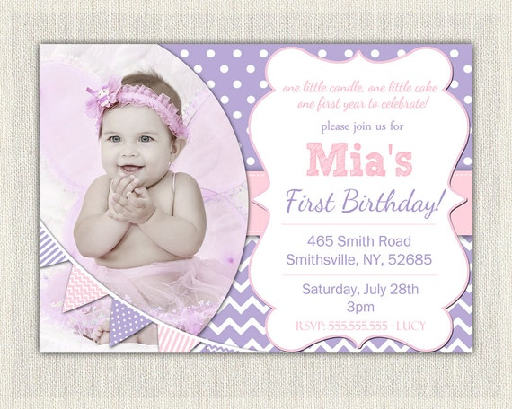 First birthday invitation purple and pink girls purple birthday il570xn filmwisefo
