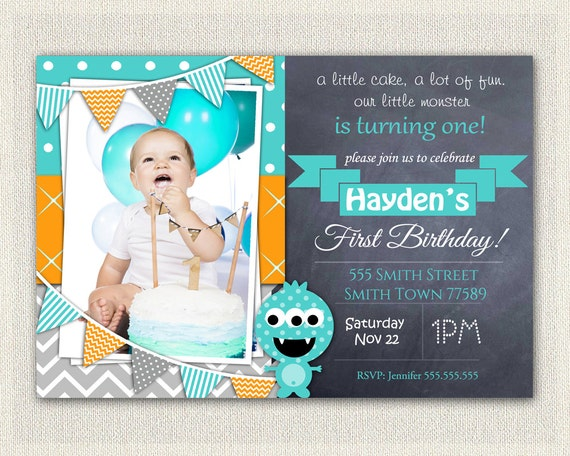CUSTOM PERSONALIZED Birthday Invitation DIY Printable Monster Download First Invites Blue Orange Green Digital