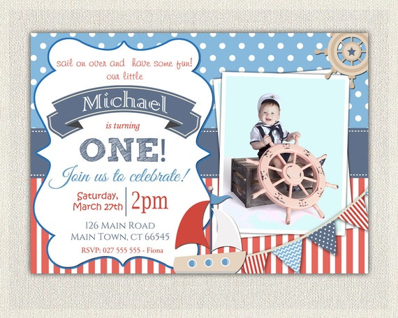 Boys Nautical Theme 1st Birthday Invitation Printable