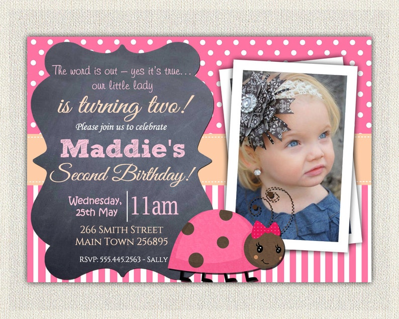 Girls 2nd Birthday Invitation Pink Ladybug Second