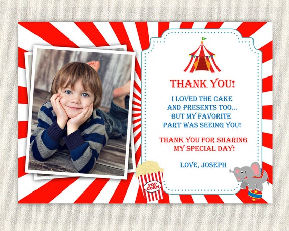 Carnival Circus Theme Thank You Card Printable Download Birthday