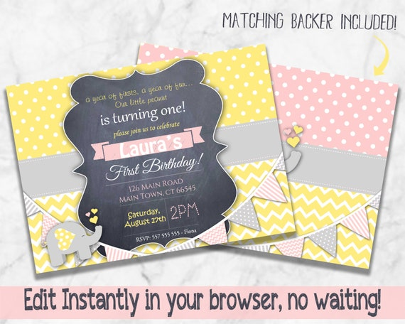 Elephant Yellow Grey And Pink 1st Birthday Invitation