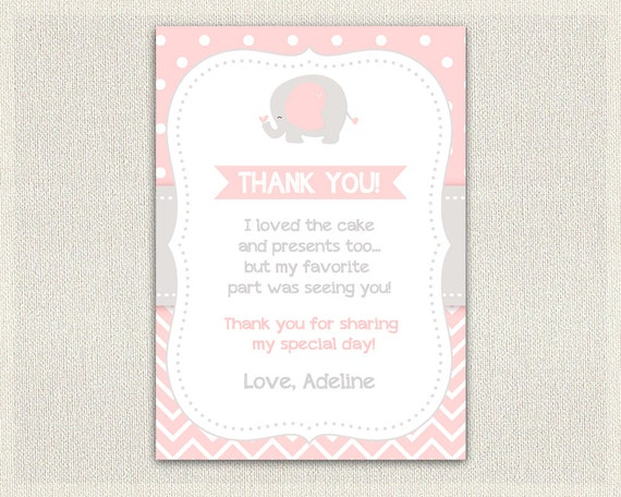 Pink Elephant Birthday Thank You Card Printable Download Note And Gray 181