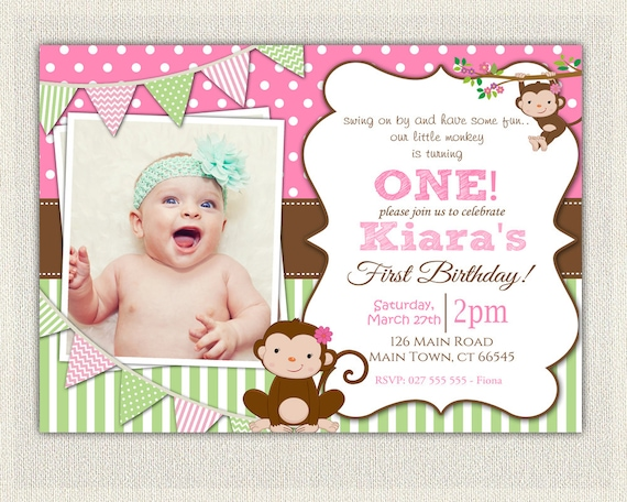 Girls Pink And Green Monkey 1st Birthday Invitation Printable