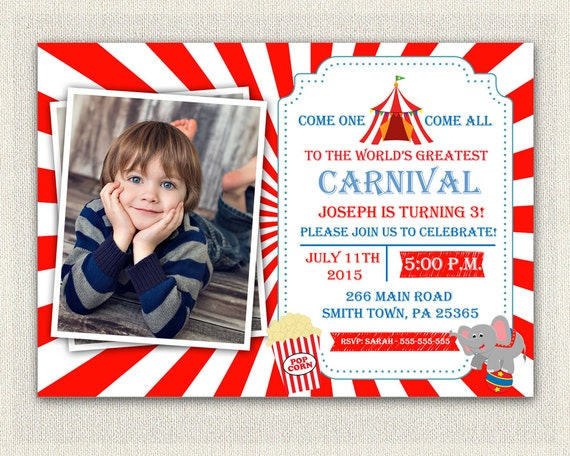 Carnival Circus Theme 1st Birthday Invitation Girls Boys Red Blue 2nd 3rd Invites Printable IV 167
