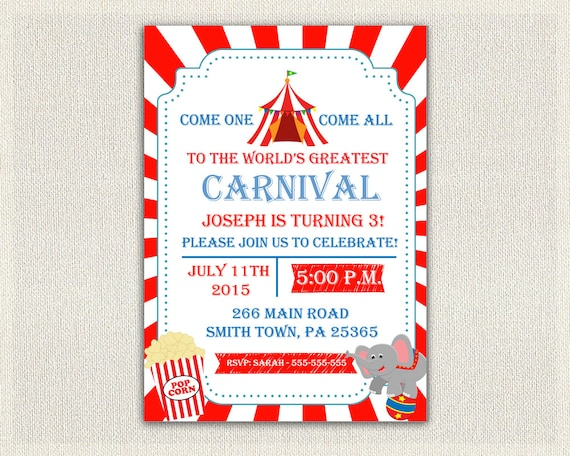 Carnival Circus Theme 1st Birthday Invitation Girls Boys Red Blue 2nd 3rd Invites Printable