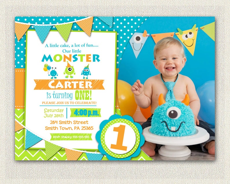 First Birthday Invitation Boys Monster 1st
