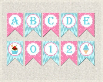 Ice Cream Banner Bunting Birthday Complete Alphabet Blue Pink 1st 2nd 3rd Printable Girl IV-13