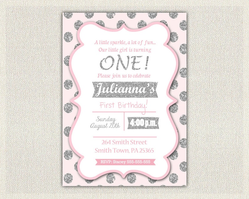 1st Birthday Invitation Silver And Pink Princess Invitations