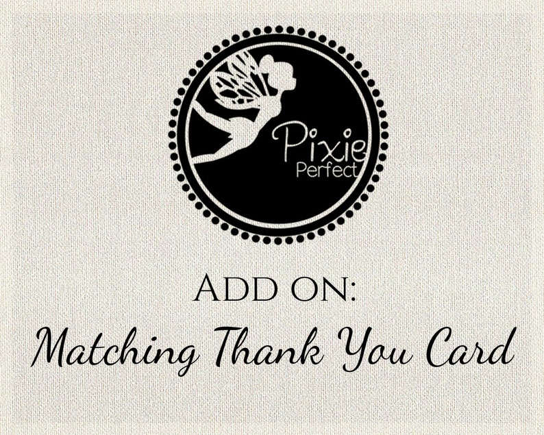 Matching Thank You Card  Add On  For any of Pixie image 0