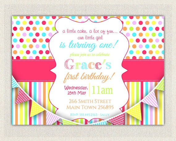 CUSTOM PERSONALIZED Birthday Invitation Rainbow Girls Pink First Invites Printable Colorful 73 Np