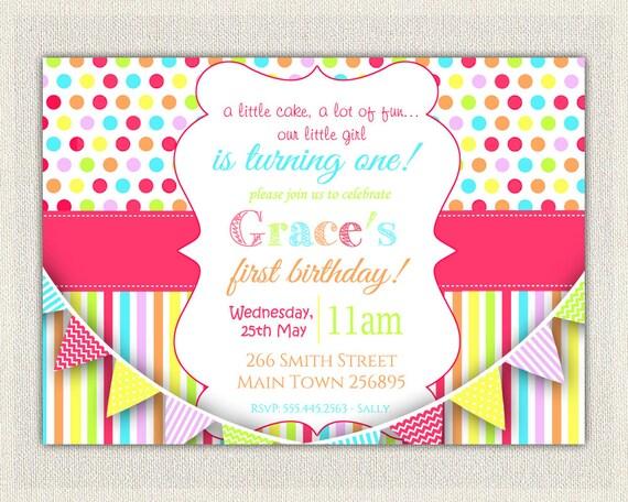 CUSTOM PERSONALIZED Birthday Invitation Rainbow Girls Pink