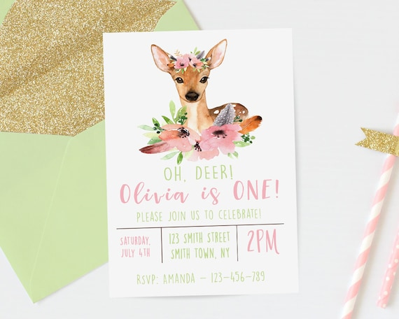 Deer Birthday Invitation Watercolor Oh First Girls Download 1st Invites DIY Digital 208