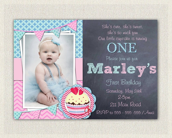 Girls 1st Birthday Invitation Printable Download First
