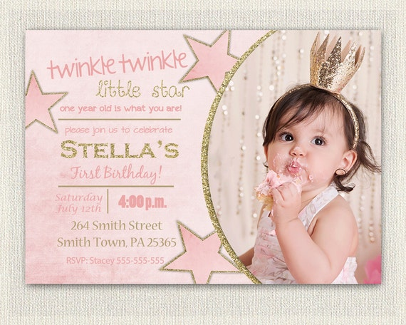 First Birthday Invitation Gold And Pink Princess Invitations Etsy