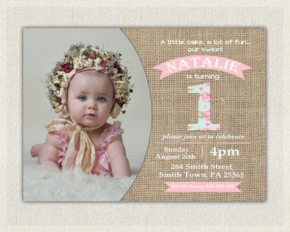 first birthday invitation girls shabby chic girls pink blue 1st 2nd