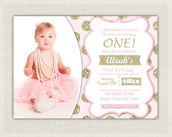 Pink And Gold Birthday Invitation Polka Dots Glitter Princess First Invite 1st Baby Girl Digital Custom Invites