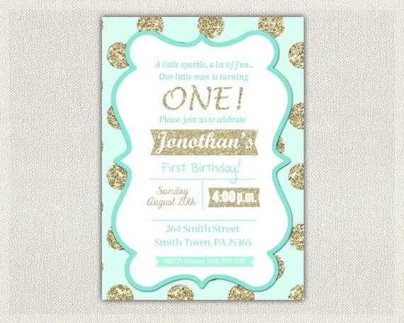 1st Birthday Invitation Gold And Mint Prince Invitations