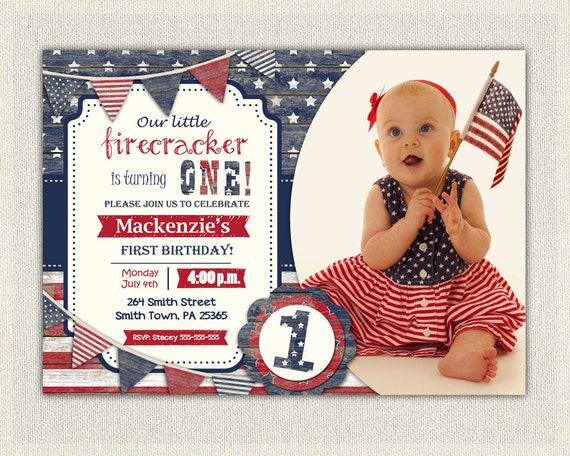 4th July First Birthday Invitation Gender Neutral Girl Boy Invite Fourth Of Patriot Red White And Blue Stars Stripes Party