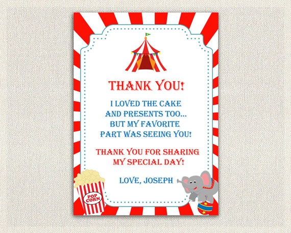 Carnival Circus Theme Thank You Card Printable Download Etsy