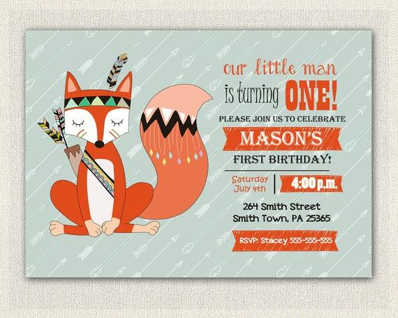 Woodland Birthday Invitation 1st Girls Boys Fox 2nd 3rd Invites Printable Party