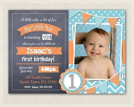 Boys Orange Blue Chalkboard Invitations 1st 2nd Birthday Invitation Download Invites Bunting DIY Digital