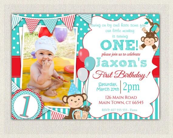 Boys Blue And Red Monkey 1st Birthday Invitation Printable