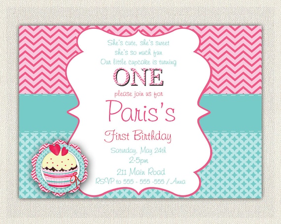 Girls 1st Birthday Invitation Printable Download First Invites Pink Blue Cupcake DIY Digital Chevron 25np