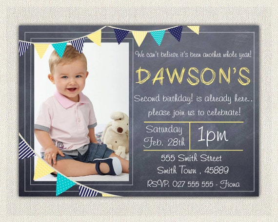 Boys Blue And Yellow 2nd Birthday Invitation Printable Download Second Birthday Photo Invitation Invites Chalkboard Bunting