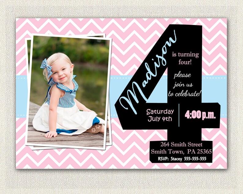 Girls 4th Birthday Invitations Printable Fourth