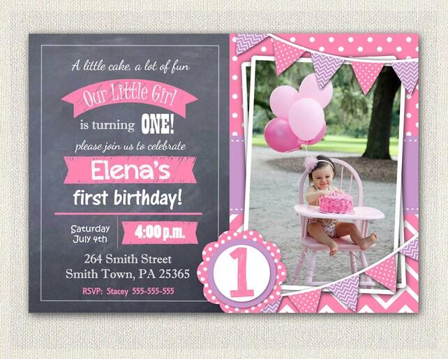 Pink And Purple 1st Birthday Invitation