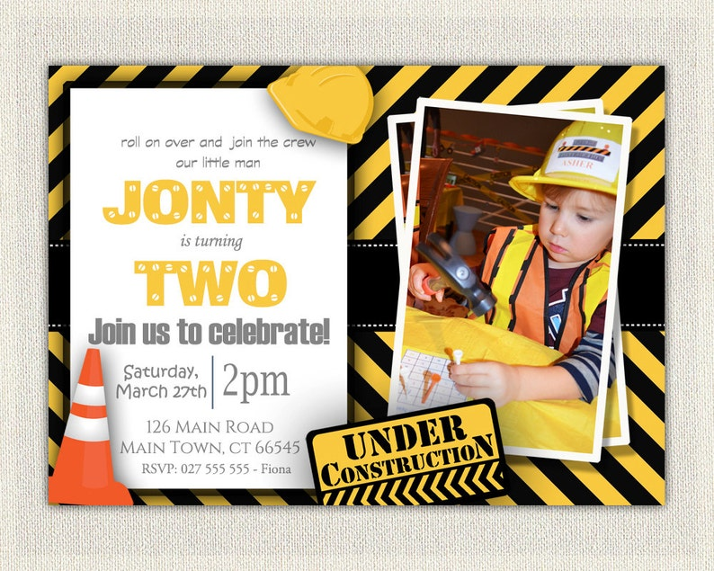 Construction Theme 2nd Birthday Invitation Boys Yellow And