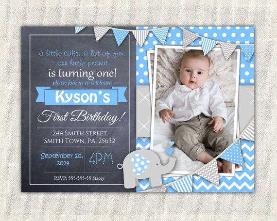 Elephant Boys Blue Grey 1st Birthday Invitation Download First