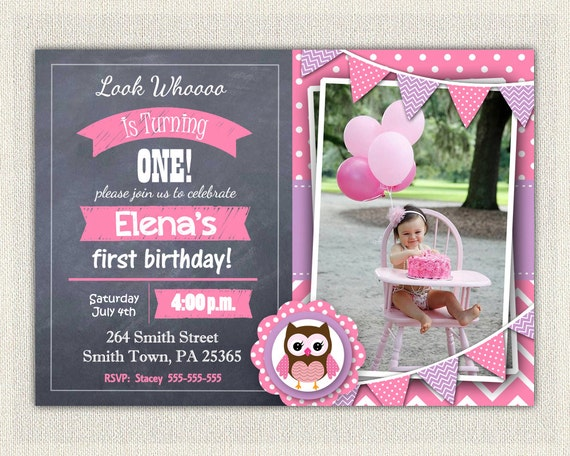 Purple Birthday Invitation Girls Owl Lavender 1st 2nd 3rd Download First Photo Chevron Invites DIY Digital