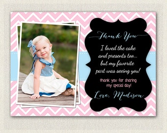 Girls 4th Fourth Birthday Pink Aqua Blue Chevron Thank You Card / Printable Download / Birthday Thank You Note / Girls Birthday