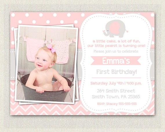 Pink And Gray Elephant Birthday Invitation Girls 1st 2nd 3rd