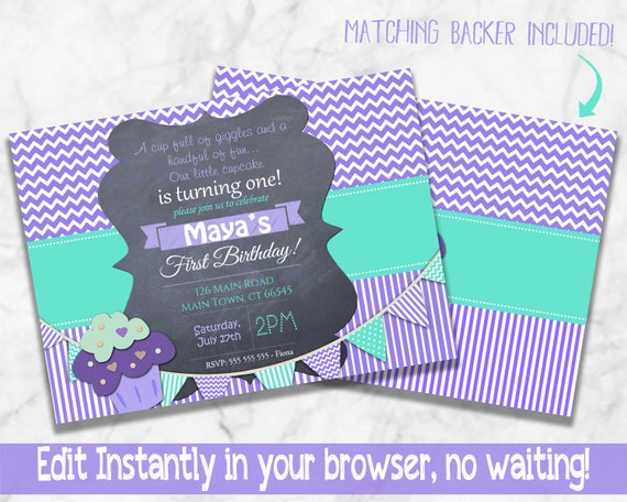 First Birthday Invitation Printable Download 1st Invites Purple Aqua Cupcake DIY Digital Chevron Polka Girl