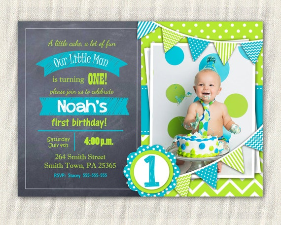 boys green blue chalkboard invitations 1st 2nd birthday invitation