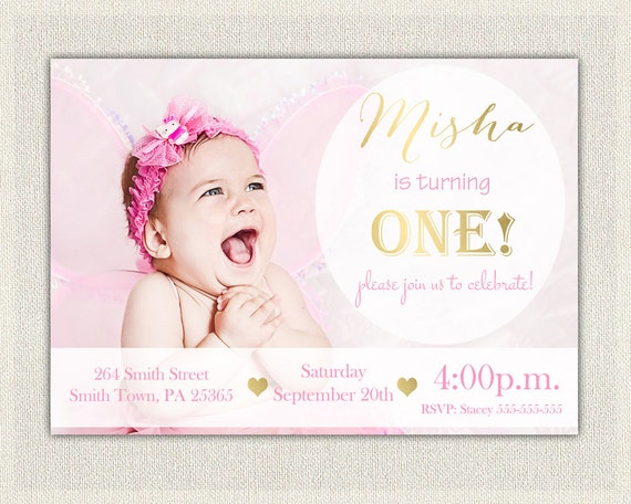 Gold And Pink Girls 1st Birthday Invitation Printable First Invites Black White Simple Photo