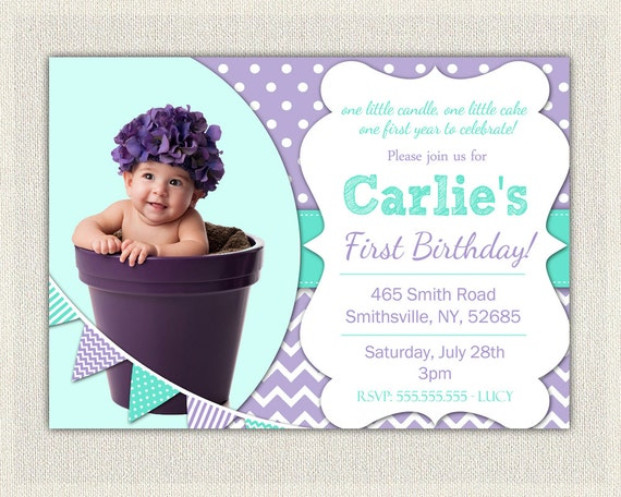 1st Birthday Invitation Purple And Aqua Girls