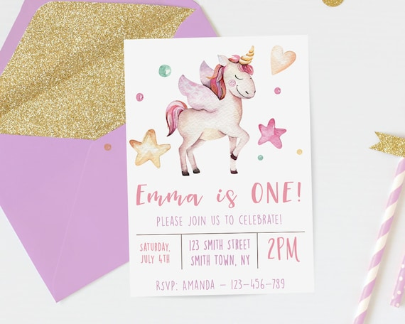 Unicorn Birthday Invitation Watercolor First Girls Download 1st Invites DIY Digital