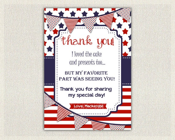 4th July Birthday Thank You Card Note Personalized Thanks Patriot Red White And Blue Stars Stripes 129
