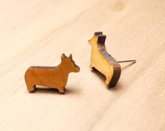 Wood Welsh Corgi Pembroke Earrings - Corgi Earrings - Dog Lover Gift - Puppy Earrings - Cute Wood Pets Stud Earrings - Wood Dog Earrings
